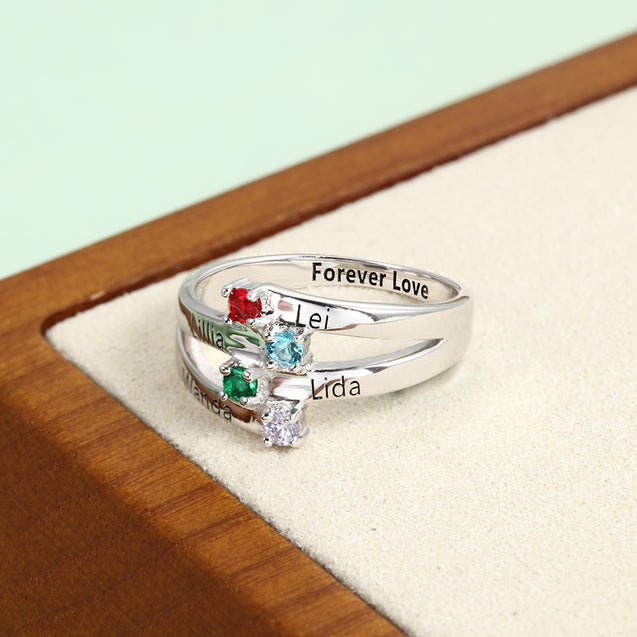 Mothers Birthstones Ring Personalized with 4 Stones Engraved 4 Names Family Ring