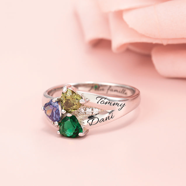 Mother Ring Family Ring Personalized with 3 Birthstones Great Mother's Day Gift