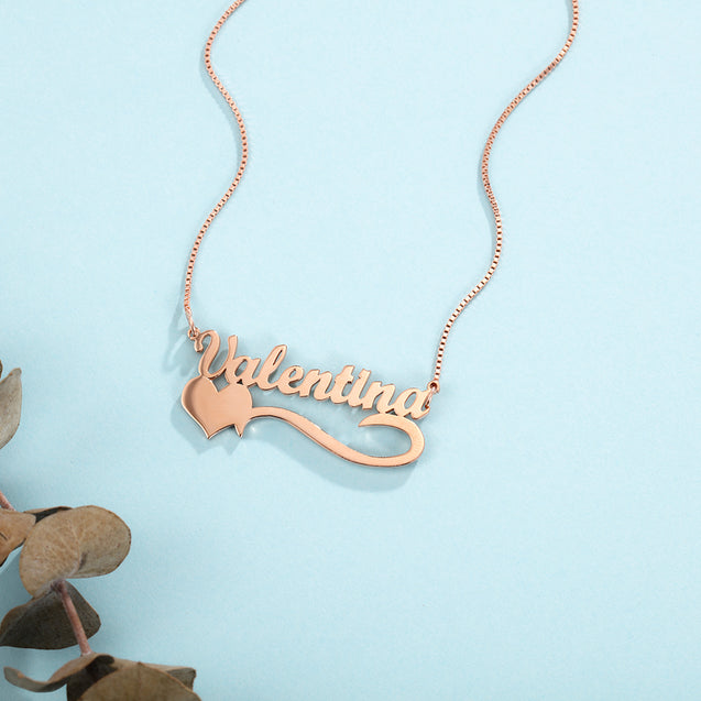Personalized Engraved Name Necklace with Heart Gift for Daughter Mother