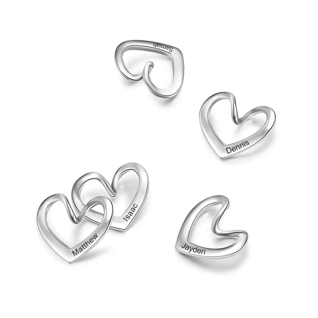 Only Heart Charms Curved 1 Heart Shape Pendant for Bracelet