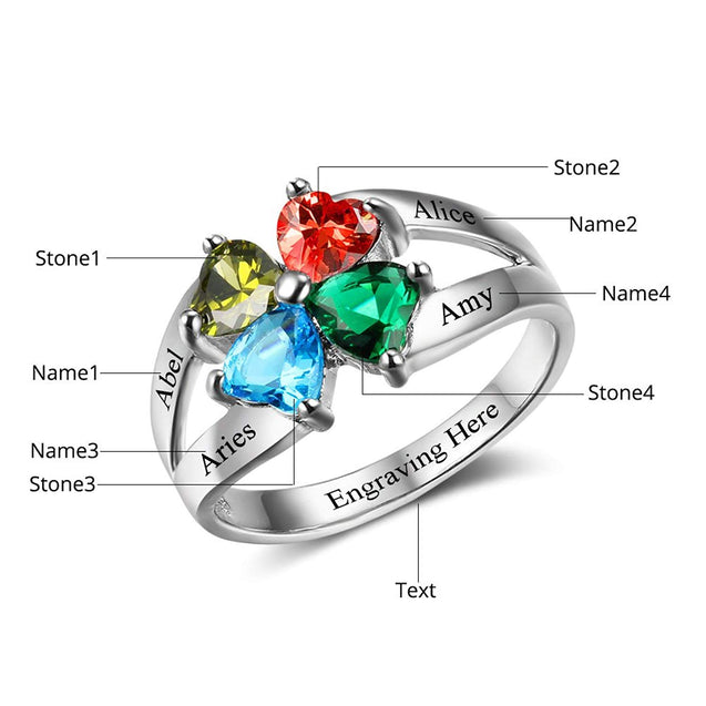 Family Ring 4 stones Engraved 4 Names Personalized Mother Ring Custom Heart Birthstone Unique Gift