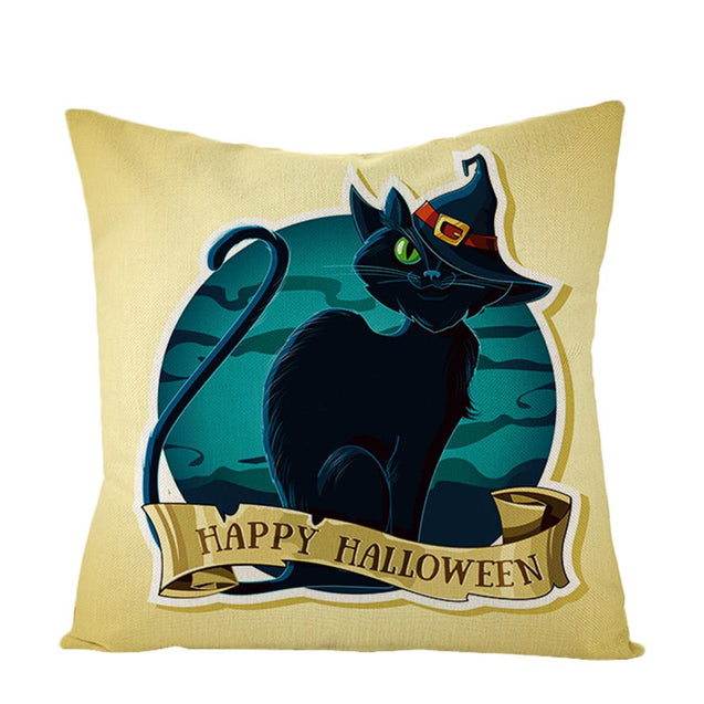 Happy Halloween Black Cat Throw Pillow