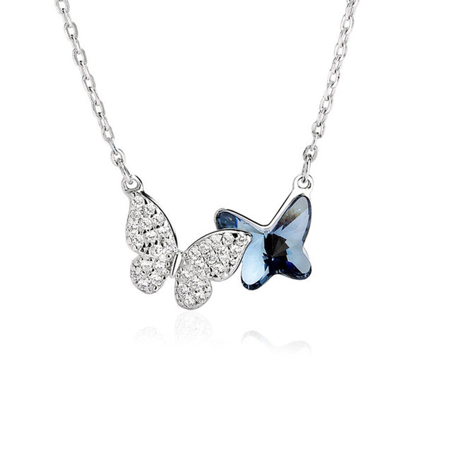 Two Butterflies Crystal Pendant Aquamarine Necklaces Sterling Silver