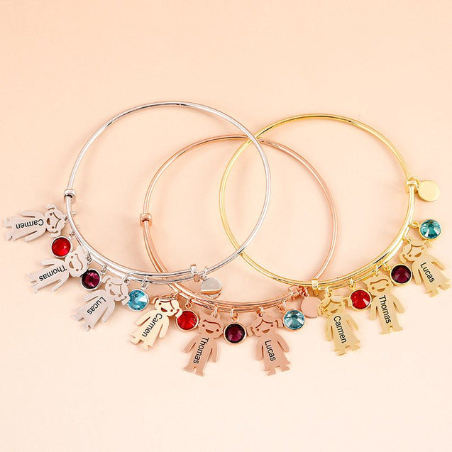 Bangle Bracelet with Kids Charms Persoanlized with 4 Birthstone Custom Ajustable Bracelets