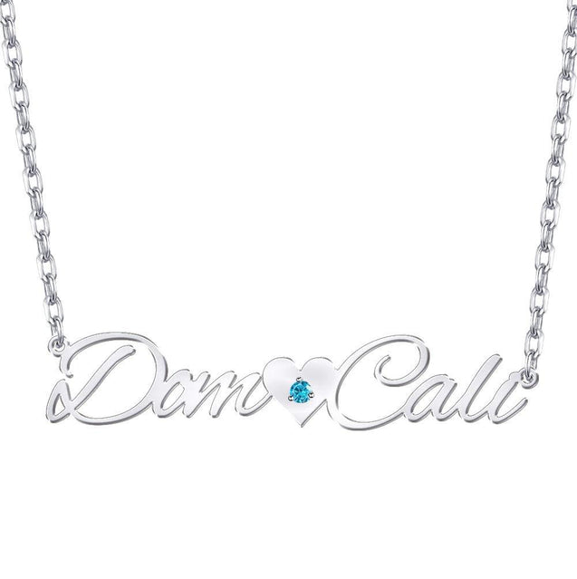 Cutsom Name Necklace With Heart Birthstone Personalized 2 Names Necklaces