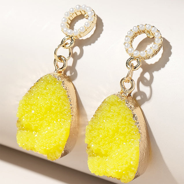 Yellow Spar Rough Earrings Natural Gifts for Her