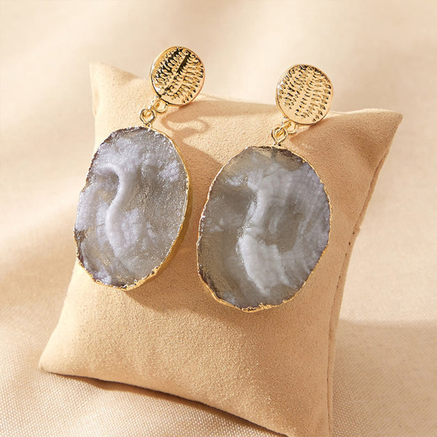 Grey Spar Rough Earrings Natural Gifts for Her