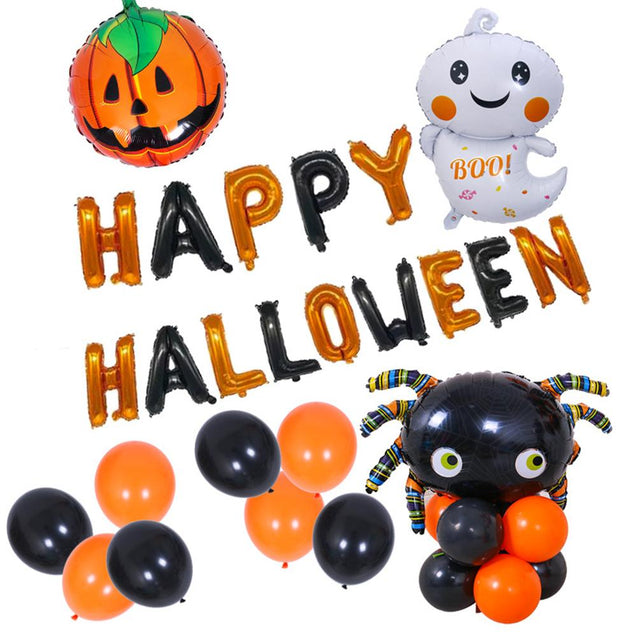 Cute Ghost Happy Halloween Balloons Set