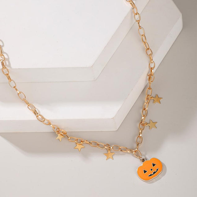 Pumpkin Pendant Halloween Necklaces With Stars