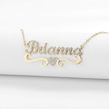 Sparking Heart Name Necklace Personalized With Cubic Zirconia