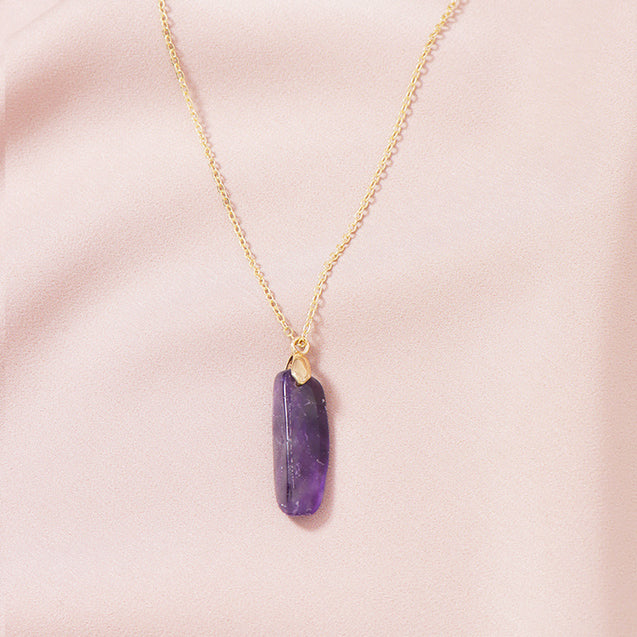 Amethyst Rough Stone Necklace Natural Gifts for Her
