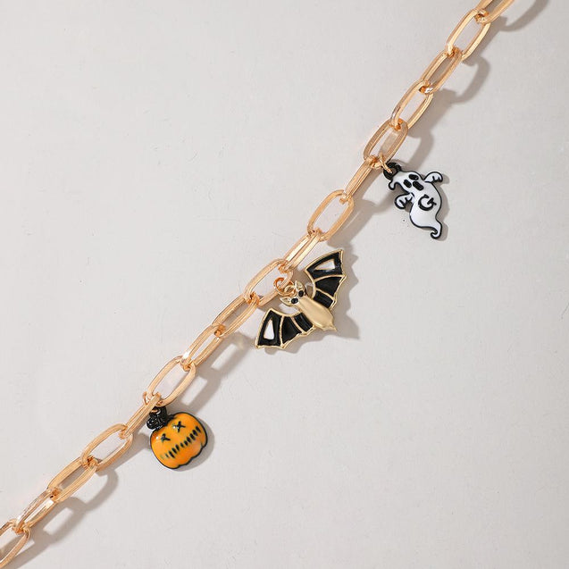 Bracelet With Pumpkin Bat Ghost Pendant Halloween Bracelet
