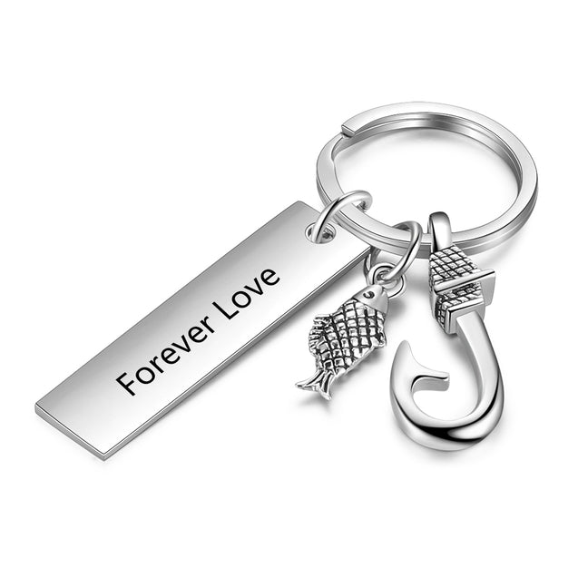 Fish Hook Key Chain with Engraved Bar Pendant Charm Personalized Gift for Father