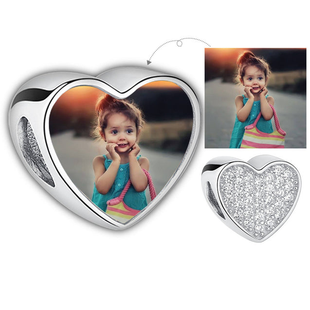 Heart Photo Charm Bracelet Personalized with 1 Charm
