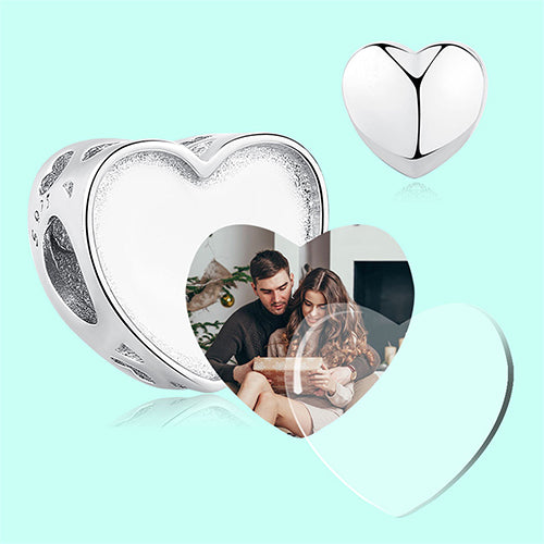 Personalized Heart Photo Charms Engravable Sterling Silver