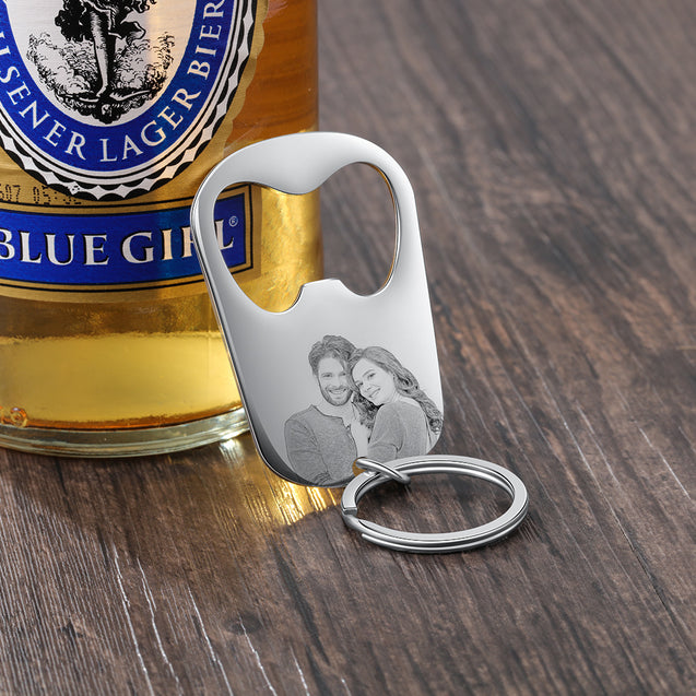 Custom Photo Keychain Personalized Bottle Opender Photo Engraved Gift for Father