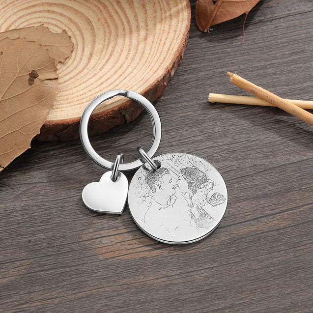 Custom Photo Keychain Personalized with Calendar and Engraved Heart Charm Birthday Gift