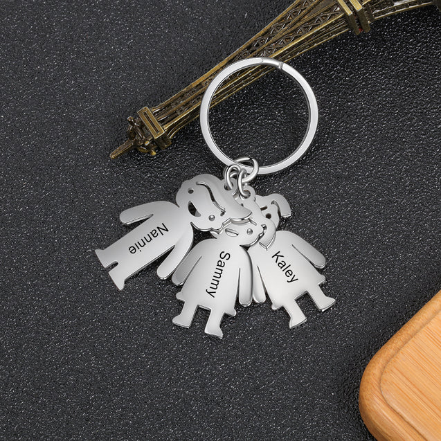Personalized Key Chain with 5 Children Charms Engraved Names Dad Key Chain
