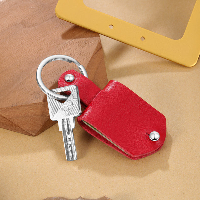 Personalised Photo Keychain with Red Leather Case Custom With Calendar