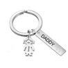Personalized Key Chain with 3 Children Charms Engraved Names Key Chain