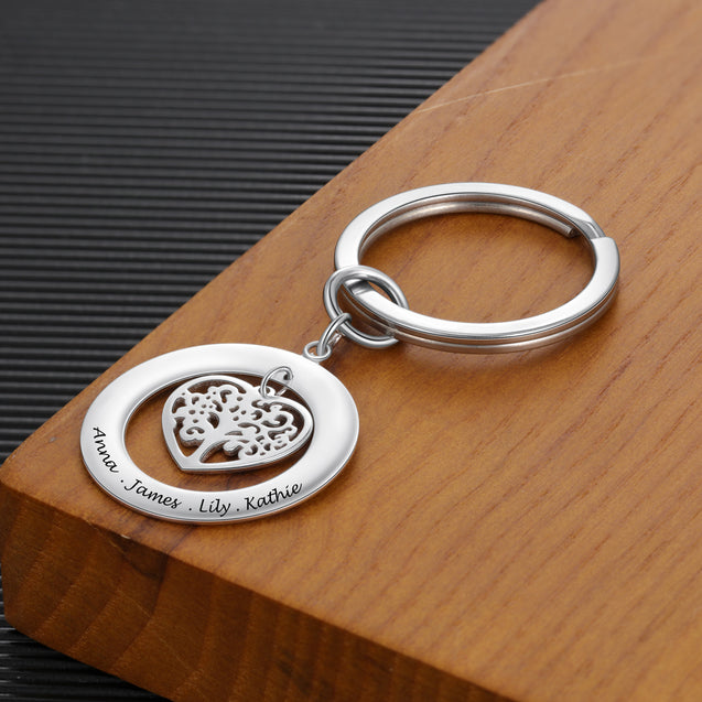 Family Tree Key Chain Engraved 4 Names Personalized Gift