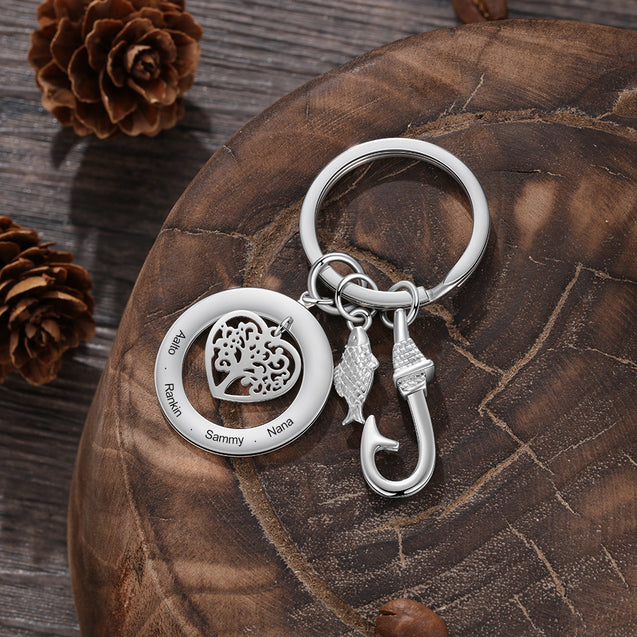 Fish Hook Key Chain with Engraved Family Tree Pendant Charm Personalized Gift for Dad