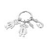 Fish Hook Key Chain with 3 Children Charms Engraved Names Personalized Key Chain