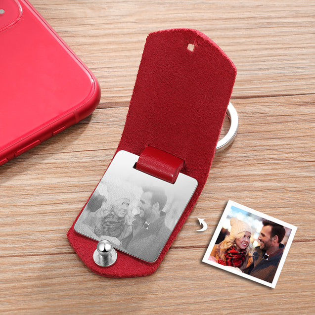 Personalised Photo Keychain with Red Leather Case Custom with Calendar Birthday Gift