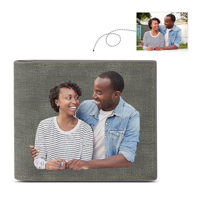 Men Bifold Photo Wallet Personalized with Engraving Grey Leather Father's Day Gifts