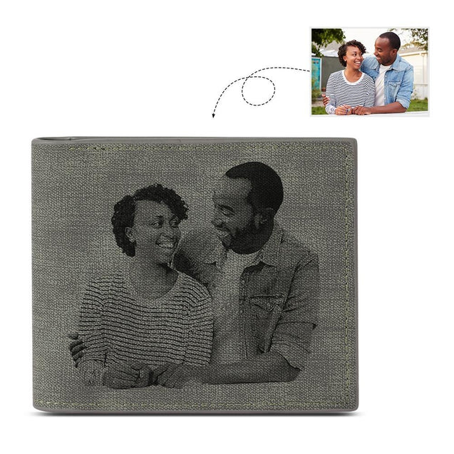 Custom Photo Men's Bifold Wallet Personalized with Engraving Grey Leather Gift For Dad