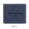 Custom Photo Men's Bifold Wallet Personalized with Engraving Blue Leather Gift For Dad