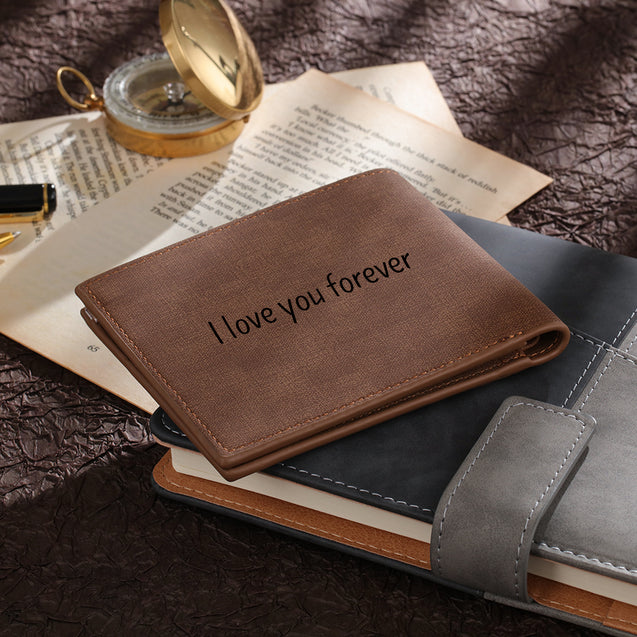 Men's Bifold Wallet Custom Photo Wallet with Engraving Coffee Leather Gift For Dad
