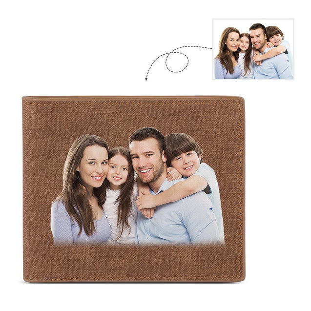 Custom Photo Wallet Men's Bifold Wallet with Engraving Coffee Leather Gift For Dad
