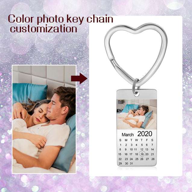 Heart Photo Keychain Personalized with Calendar and Engraved Pendant