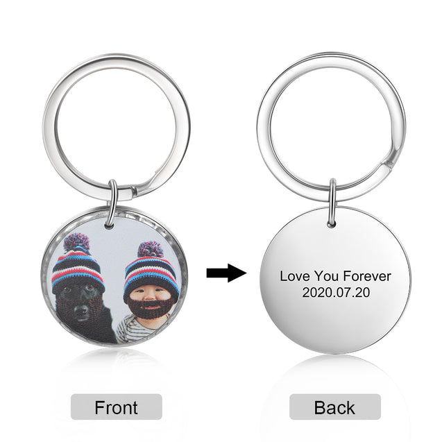 Custom Photo Keychain Personalized Key Chain with Engraving