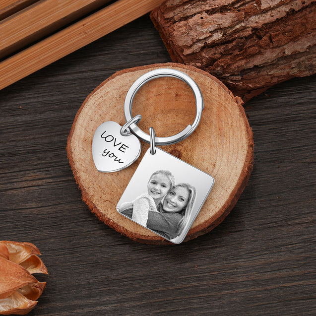 Photo Keychain Personalized with Calendar and Engraved Heart Charm