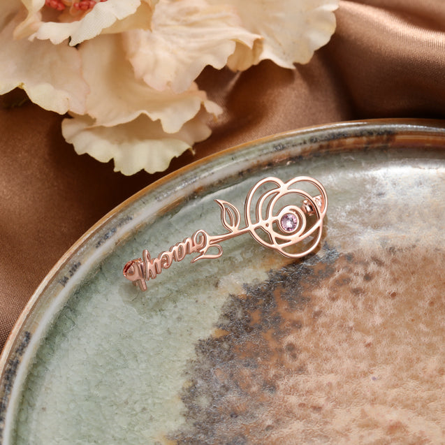 Rose flower-shaped Name Customization Brooch Personalized