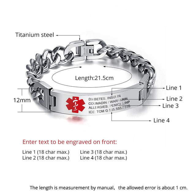 Medical Alert ID Bracelets for Women Men Kids stainless steel