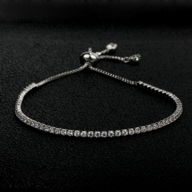 Adjustable Bracelet For Women Girl 18K White Gold Plated Blacelet With Sparkling Cubic Zirconia Gift For Her