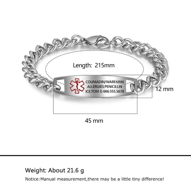 Medical Alert ID Bracelets for Women Men Kids chain bracelet stainless steel silver