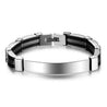 Stainless Steel ID Bracelet for Men Women Kids Engravable Personalized Chain Bracelet Emergency ID Wristband Sport Bracelet Black