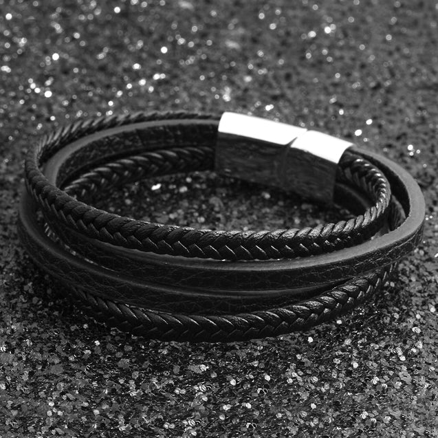 Men Bracelet Leather Braided Fashion Multi-Layer Black Leather Bracelet