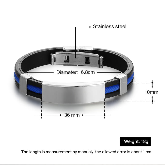 Engraving Stainless Steel ID Bracelet for Men Women Kids Adjustable Emergency ID Wristband Silicone Clasp Identification Bracelet Black Blue