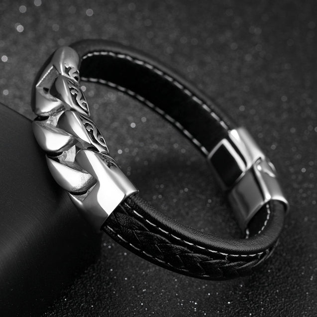 men leather bracelets Link Chain Wristband Black Gift For Him