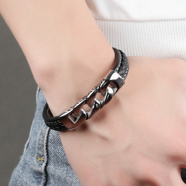 vintage men leather bracelets Link Chain Wristband Fashion Clasp Gift For Him