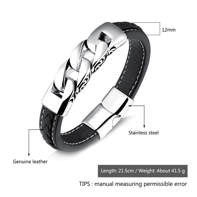 men leather bracelets Link Chain Wristband Fashion Clasp Gift For Him