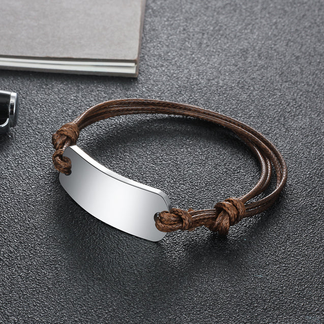 Leather Bracelet Men Women ID Bracelet for Kids Adjustable Emergency ID Wristband Brown