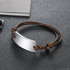 Leather Bracelet Men Women Stainless Steel ID Bracelet for Kids Adjustable Emergency ID Wristband Sport Bracelet Brown