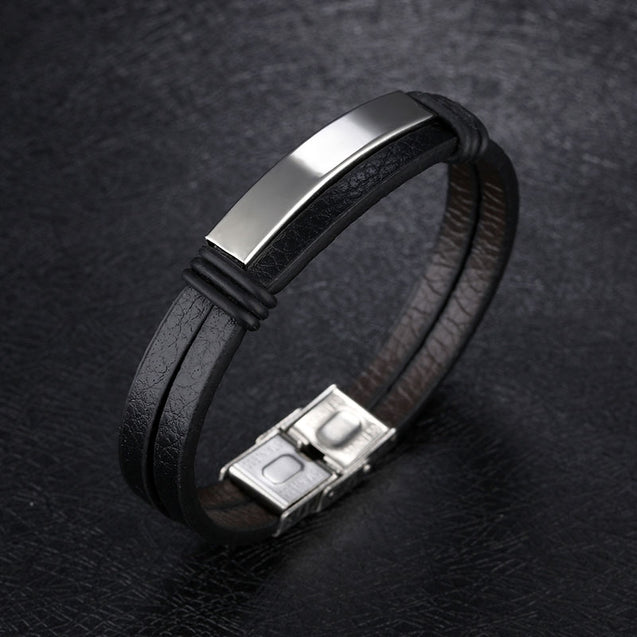 Mens Leather Bracelet Black Engraved Personalized Bracelet Stainless Steel in Gold
