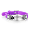 Medical Alert Bracelet  Engraved Adjustable Silicone Personalized Emergency ID Wristband